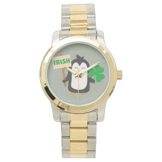 Relógio Pinguim irlandês com trevo Zjib4