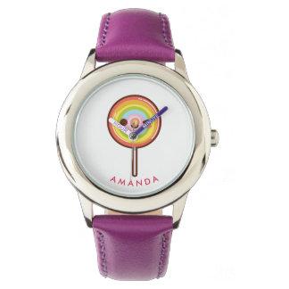 Relógio Pirulito bonito super do arco-íris do kawaii