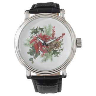 Relógio poinsétia moderna do feriado do vintage floral