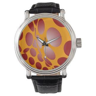 Relógio Pontos vermelhos entortados no ouro