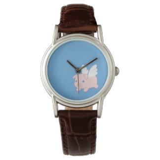 Relógio Porco do vôo - leitão bonito com asas