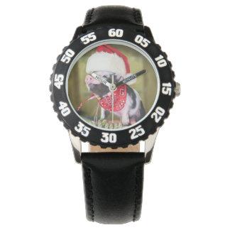 Relógio Porco Papai Noel - porco do Natal - leitão