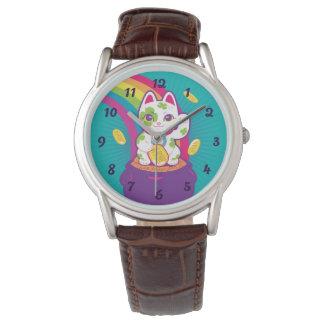 Relógio Pote de boa sorte de Maneki Neko do gato de ouro