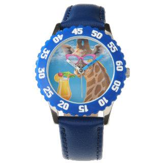 Relógio Praia do girafa - girafa engraçado