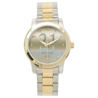 Relógio Prata número 21 do ouro do aniversário de 21 anos