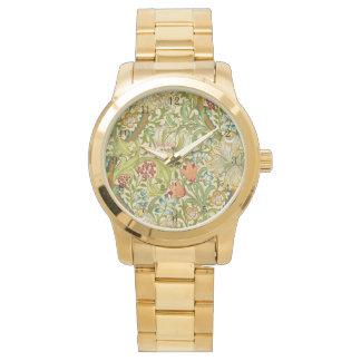 Relógio Pre-Raphaelite dourado do vintage do lírio de