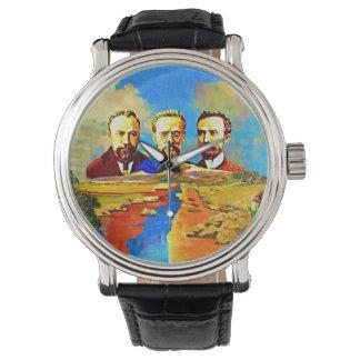 Relógio preto arménio da mão do couro ARF do