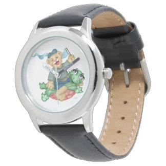 Relógio Preto de aço inoxidável dos DESENHOS ANIMADOS do
