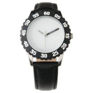 Relógio preto de aço inoxidável, moldura ajustável