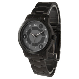 Relógio preto desproporcionado do bracelete de