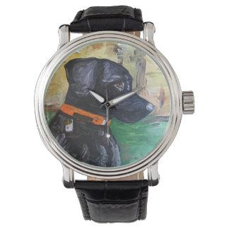 Relógio preto doce do laboratório por