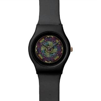 Relógio preto Matte da mandala do arco-íris