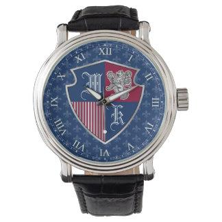 Relógio Protetor de prata do emblema do monograma da