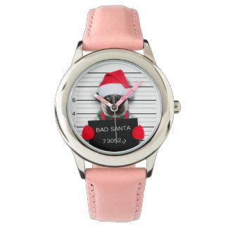 Relógio Pug do Natal - cão do mugshot - pug do papai noel