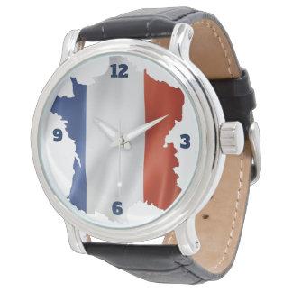 Relógio Pulso de disparo para patriotas de France (couro