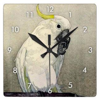 Relógio Quadrado オウム do ・ do キバタン, cockatoo Enxofre-com crista,