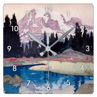 Relógio Quadrado レーニア山, o Monte Rainier, Hiroshi Yoshida, Woodcut