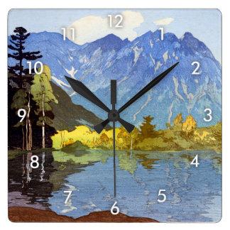 Relógio Quadrado 穂高岳, montagem Hotaka, Hiroshi Yoshida, Woodcut