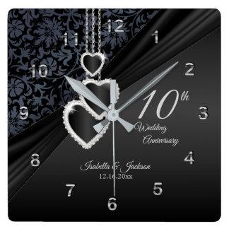 Relógio Quadrado 10o Lembrança 2 do aniversário de casamento do