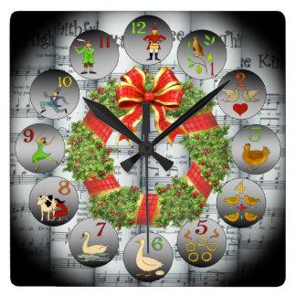 Relógio Quadrado 12 dias da grinalda de Music~Christmas do ~Sheet