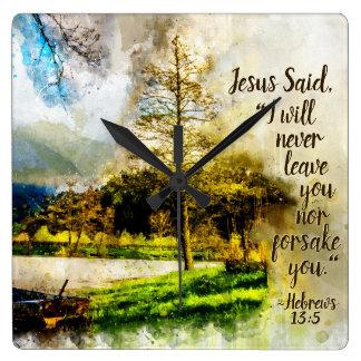 Relógio Quadrado 13:5 dos hebraicos eu nunca deixá-lo-ei ou forsake