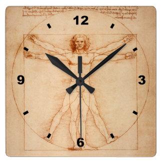 Relógio Quadrado ` 1490 do ` de Leonardo da Vinci do ~ do homem de