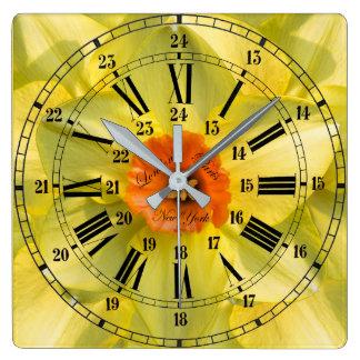 Relógio Quadrado 24 flores da hora
