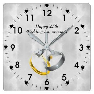 Relógio Quadrado 25o Anéis do aniversário de casamento de prata
