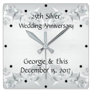 Relógio Quadrado 25o aniversário de casamento geométrico de prata