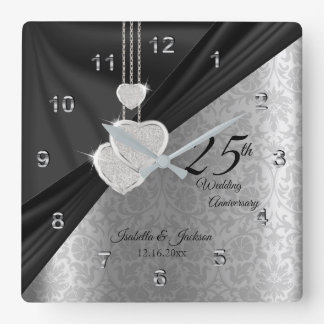 Relógio Quadrado 25o Lembrança do aniversário de casamento de prata