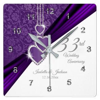 Relógio Quadrado 3ó Lembrança roxa Amethyst do aniversário de