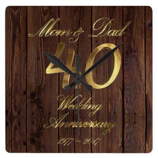 Relógio Quadrado 40th Pais do casamento do rubi do aniversário de
