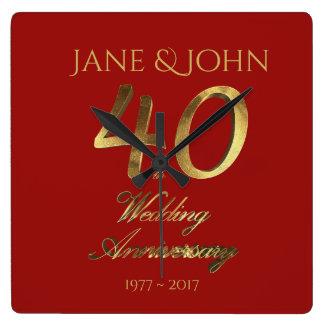 Relógio Quadrado 40th Rubi do aniversário de casamento que Wedding
