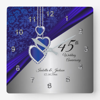 Relógio Quadrado 45th/65th lembrança do aniversário de casamento da