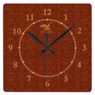 Relógio Quadrado 4 decorativos de madeira vermelhos uma venda