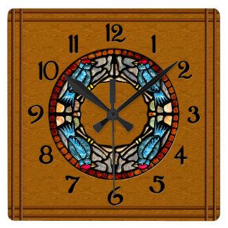 Relógio Quadrado 4 pássaros apedrejam o mosaico