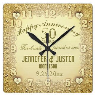 Relógio Quadrado 50th Aniversário de casamento