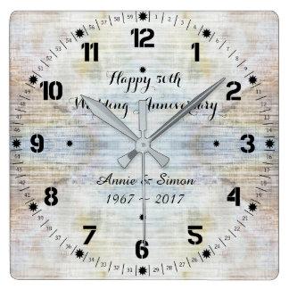 Relógio Quadrado 50th Teste padrão do mármore do aniversário de
