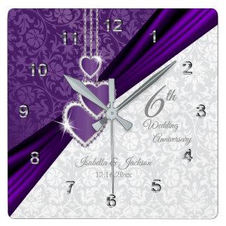 Relógio Quadrado 6o Lembrança roxa Amethyst do aniversário de