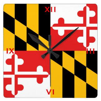 Relógio Quadrado A bandeira oficial do estado de Maryland