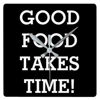 Relógio Quadrado A boa comida toma o tempo