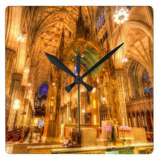 Relógio Quadrado A catedral Manhattan New York de St Patrick