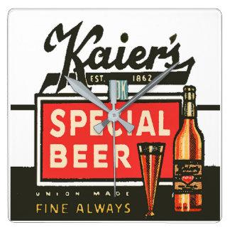 Relógio Quadrado A cerveja especial de Kaier