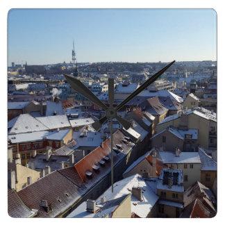 Relógio Quadrado A cidade do pulso de disparo de Praga