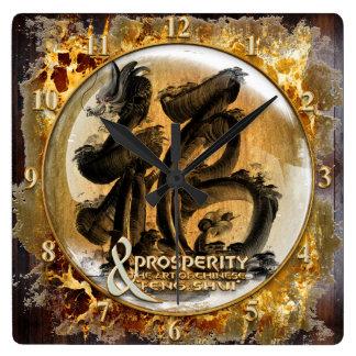 Relógio Quadrado A CONEXÃO DA PROSPERIDADE: Arte do Fengshui chinês