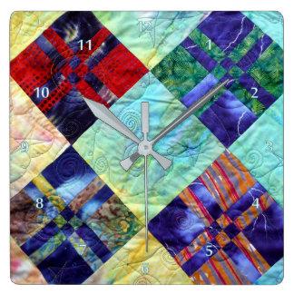 Relógio Quadrado A edredão esquadra a imagem nos Batiks