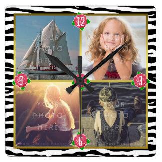Relógio Quadrado A foto de família adiciona 4 rosas feitos sob