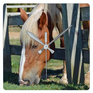 Relógio Quadrado A grama é mais verde no outro cavalo lateral