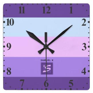 Relógio Quadrado A lavanda delicada sonha o monograma da paleta de