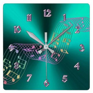 Relógio Quadrado A música metálica da cerceta nota o pulso de